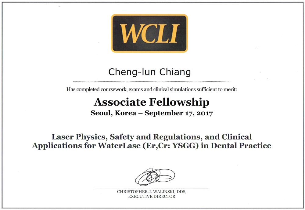 Dr江-世界雷射臨床學會(WCLI)副院士證書