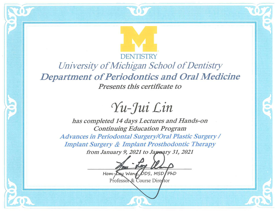 Dr叡-密西根大學牙周病暨人工植牙專科進修證書